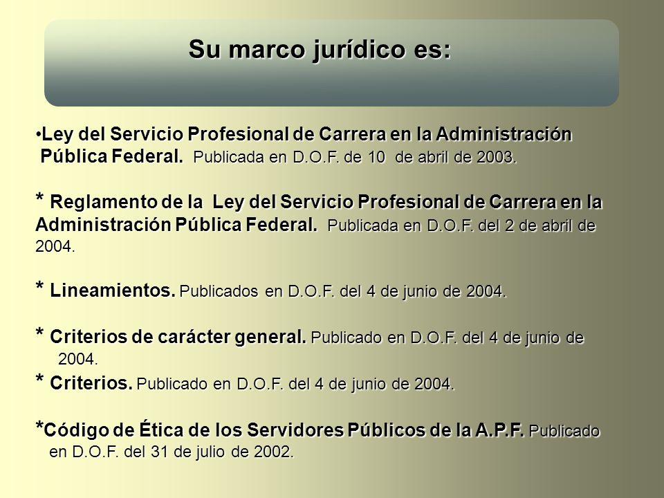 Su marco jurídico es: Su marco jurídico es: Ley del Servicio Profesional de Carrera en la Administración Pública Federal. Publicada en D.O.F. de 10 de