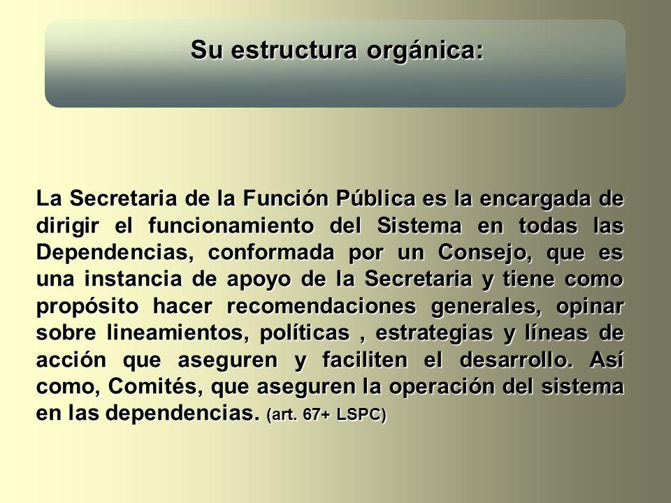 Su estructura orgánica: Su estructura orgánica: La Secretaria de la Función Pública es la encargada de dirigir el funcionamiento del Sistema en todas