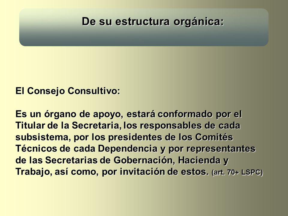 De su estructura orgánica: De su estructura orgánica: El Consejo Consultivo: Es un órgano de apoyo, estará conformado por el Titular de la Secretaria,