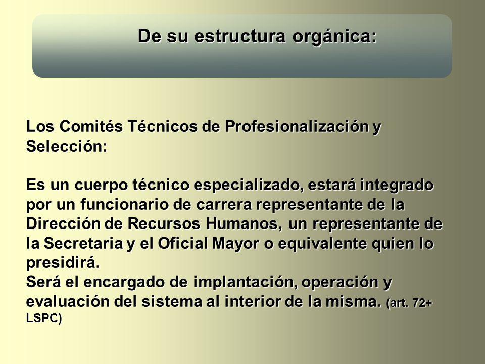 De su estructura orgánica: De su estructura orgánica: Los Comités Técnicos de Profesionalización y Selección: Es un cuerpo técnico especializado, esta