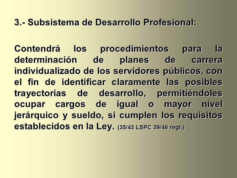 3.- Subsistema de Desarrollo Profesional: Contendrá los procedimientos para la determinación de planes de carrera individualizado de los servidores pú