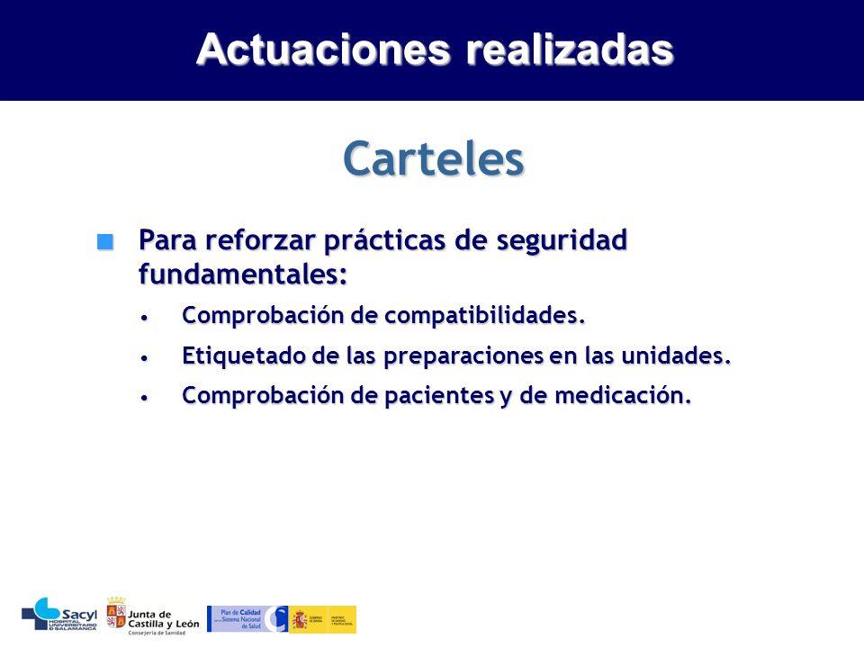 Evaluación de la seguridad del sistema de utilización de medicamentos Actuaciones realizadas Carteles Para reforzar prácticas de seguridad fundamentales: Para reforzar prácticas de seguridad fundamentales: Comprobación de compatibilidades.