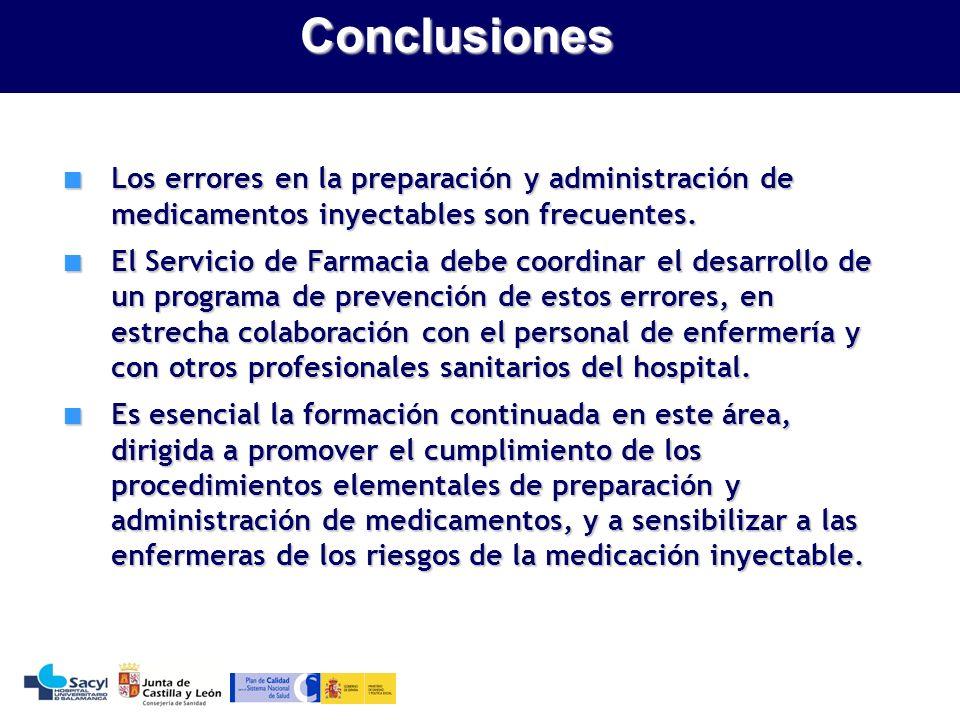Evaluación de la seguridad del sistema de utilización de medicamentosConclusiones Los errores en la preparación y administración de medicamentos inyectables son frecuentes.