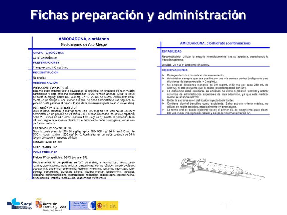 Evaluación de la seguridad del sistema de utilización de medicamentos Fichas preparación y administración