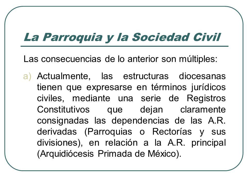La Parroquia y la Sociedad Civil a)Actualmente, las estructuras diocesanas tienen que expresarse en términos jurídicos civiles, mediante una serie de Registros Constitutivos que dejan claramente consignadas las dependencias de las A.R.