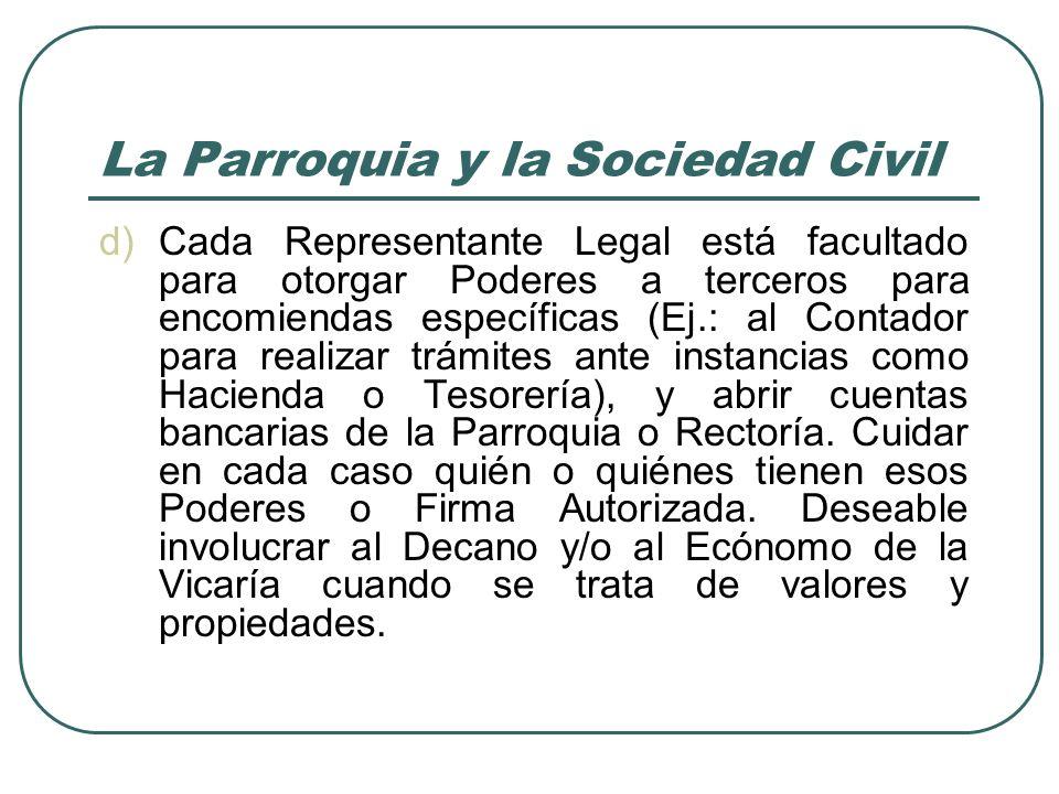 La Parroquia y la Sociedad Civil e)Cada A.R.