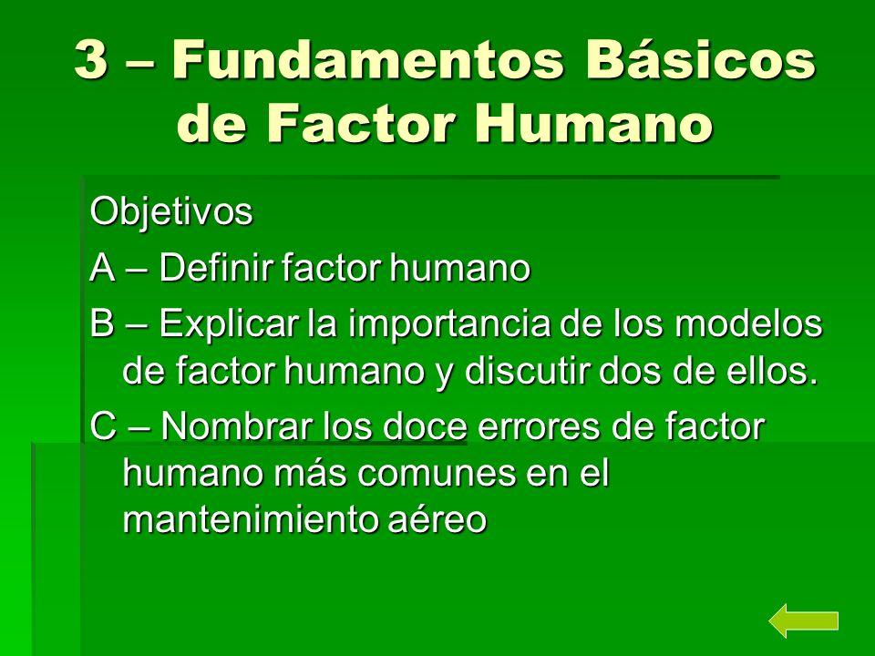 3 – Fundamentos Básicos de Factor Humano Objetivos A – Definir factor humano B – Explicar la importancia de los modelos de factor humano y discutir do