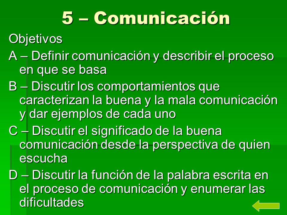 5 – Comunicación Objetivos A – Definir comunicación y describir el proceso en que se basa B – Discutir los comportamientos que caracterizan la buena y