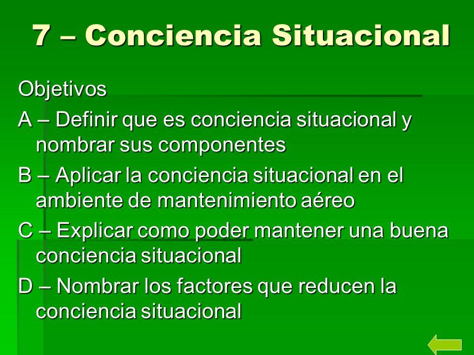 7 – Conciencia Situacional Objetivos A – Definir que es conciencia situacional y nombrar sus componentes B – Aplicar la conciencia situacional en el a