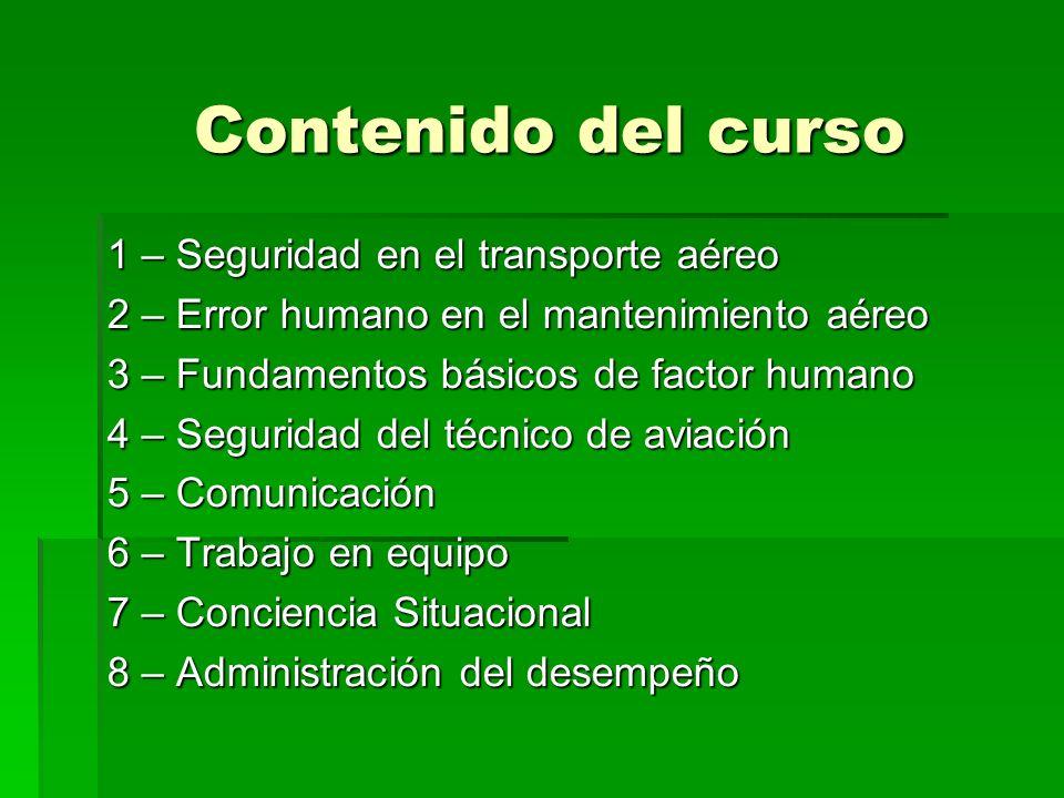 Contenido del curso 1 – Seguridad en el transporte aéreo 2 – Error humano en el mantenimiento aéreo 3 – Fundamentos básicos de factor humano 4 – Segur