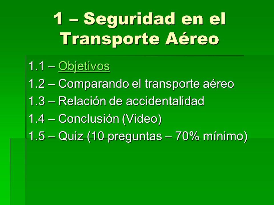 1 – Seguridad en el Transporte Aéreo 1.1 – Objetivos Objetivos 1.2 – Comparando el transporte aéreo 1.3 – Relación de accidentalidad 1.4 – Conclusión