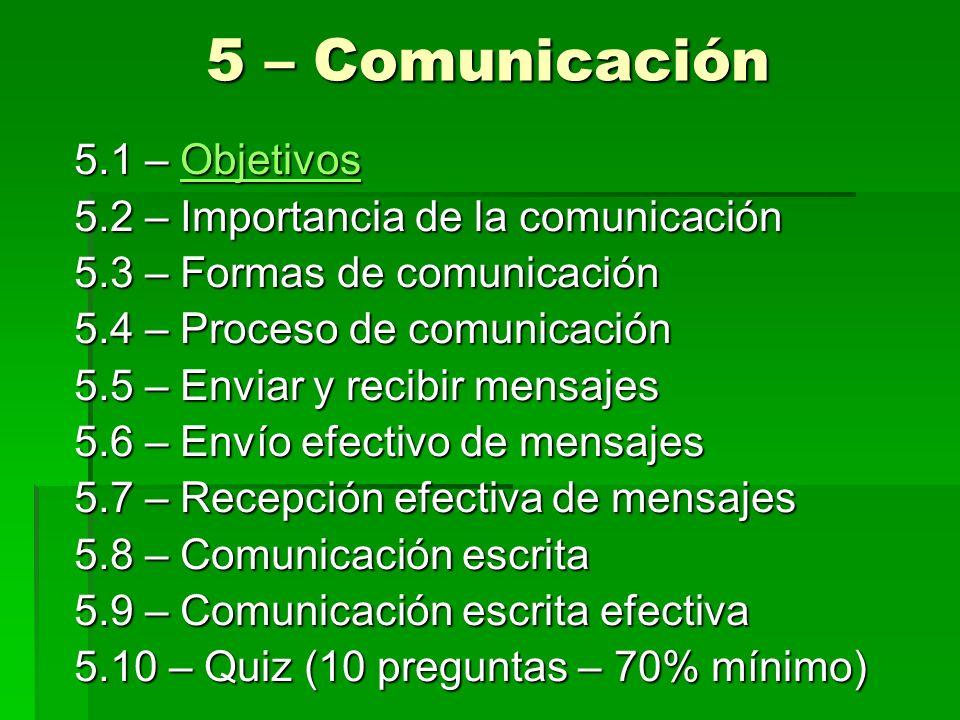 5 – Comunicación 5.1 – Objetivos Objetivos 5.2 – Importancia de la comunicación 5.3 – Formas de comunicación 5.4 – Proceso de comunicación 5.5 – Envia