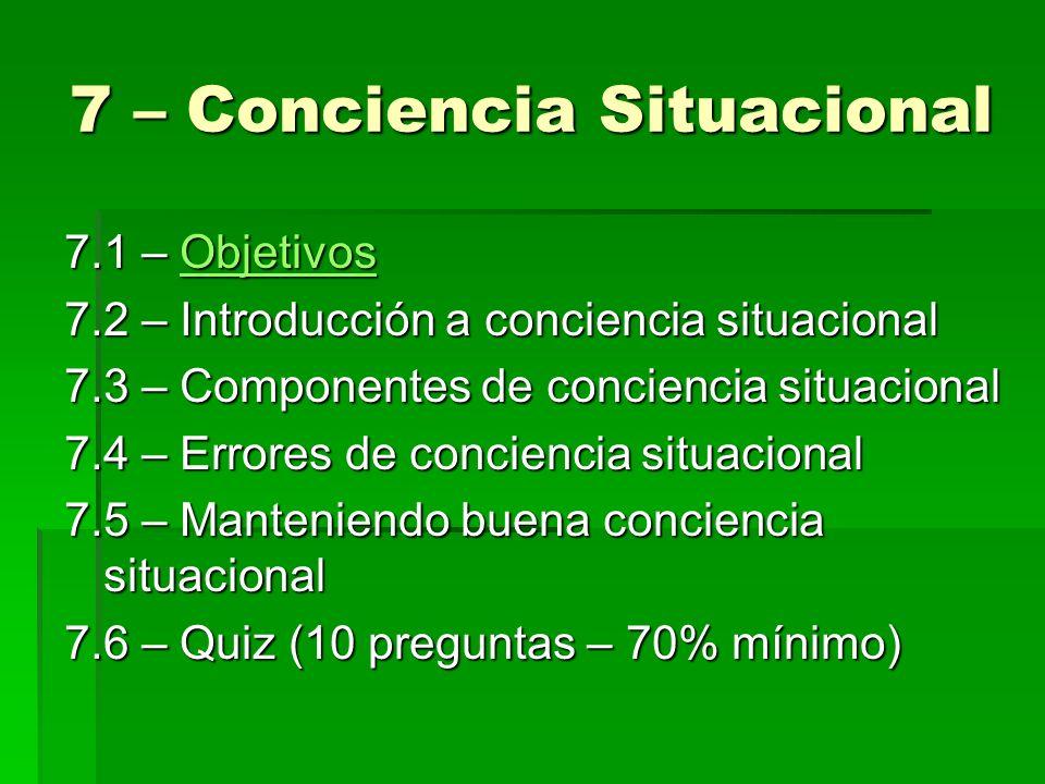7 – Conciencia Situacional 7.1 – Objetivos Objetivos 7.2 – Introducción a conciencia situacional 7.3 – Componentes de conciencia situacional 7.4 – Err