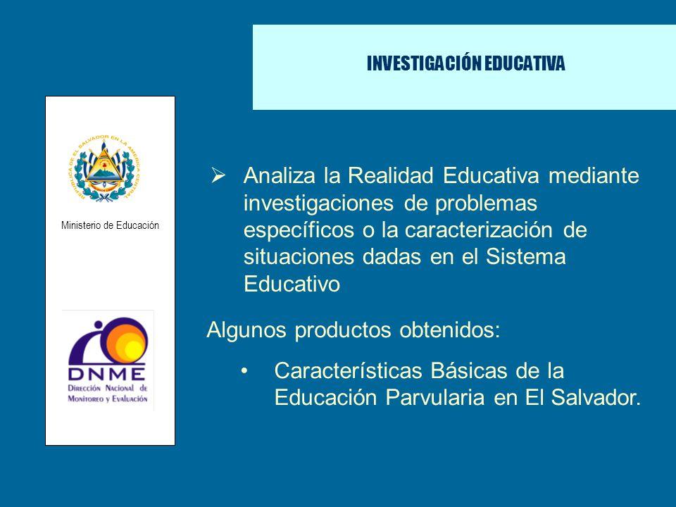 INVESTIGACIÓN EDUCATIVA Analiza la Realidad Educativa mediante investigaciones de problemas específicos o la caracterización de situaciones dadas en e