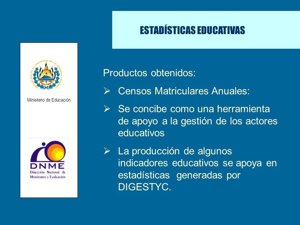 ESTADÍSTICAS EDUCATIVAS Productos obtenidos: Censos Matriculares Anuales: Se concibe como una herramienta de apoyo a la gestión de los actores educati