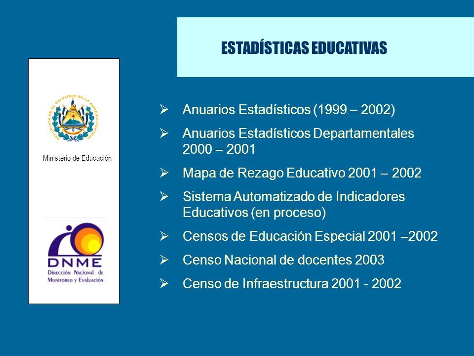 ESTADÍSTICAS EDUCATIVAS Anuarios Estadísticos (1999 – 2002) Anuarios Estadísticos Departamentales 2000 – 2001 Mapa de Rezago Educativo 2001 – 2002 Sis