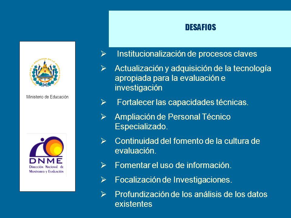 DESAFIOS Institucionalización de procesos claves Actualización y adquisición de la tecnología apropiada para la evaluación e investigación Fortalecer