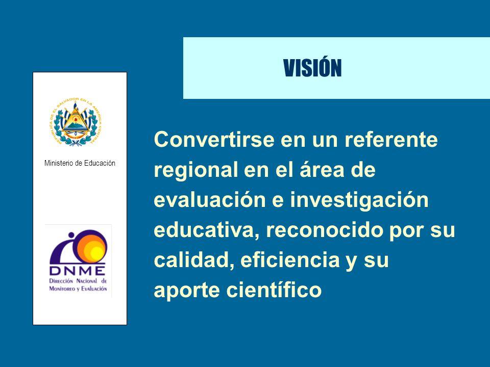 Convertirse en un referente regional en el área de evaluación e investigación educativa, reconocido por su calidad, eficiencia y su aporte científico