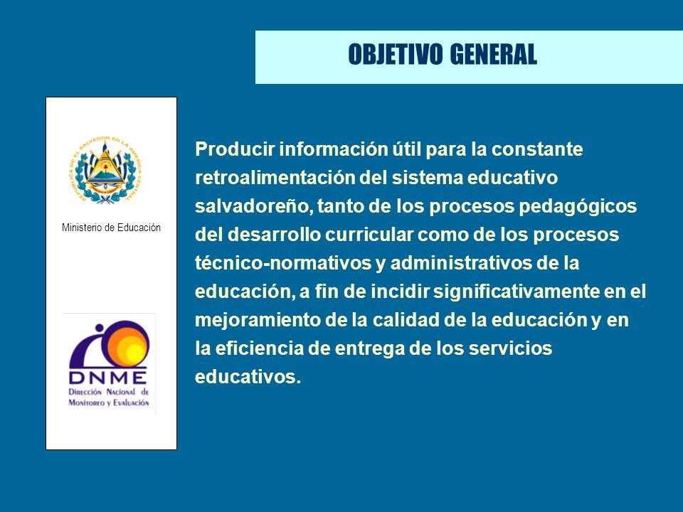 ÁREAS DE EFECTIVIDAD OBJETIVO GENERAL Producir información útil para la constante retroalimentación del sistema educativo salvadoreño, tanto de los pr