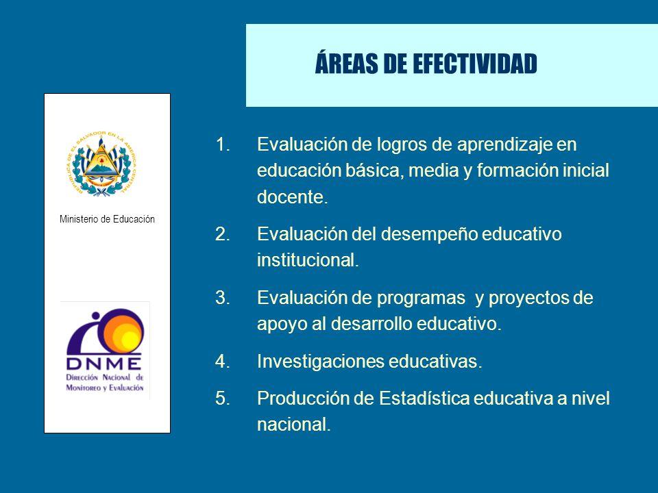 ÁREAS DE EFECTIVIDAD 1.Evaluación de logros de aprendizaje en educación básica, media y formación inicial docente. 2.Evaluación del desempeño educativ