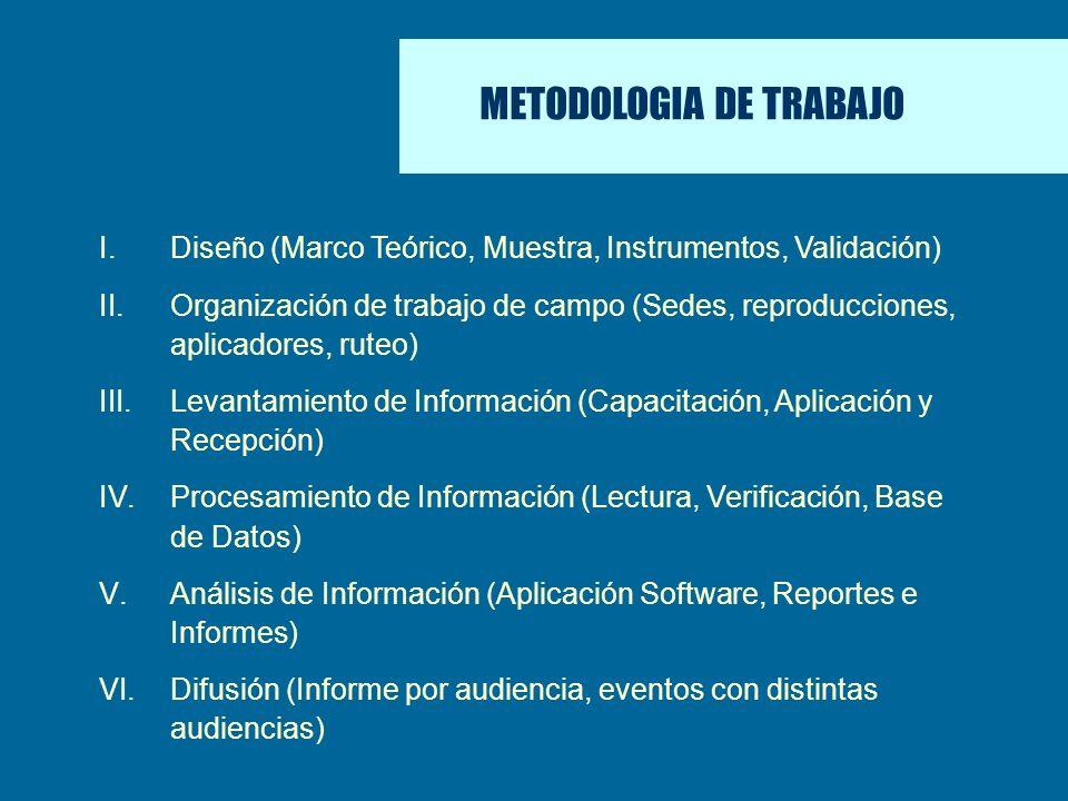 ÁREAS DE EFECTIVIDAD I.Diseño (Marco Teórico, Muestra, Instrumentos, Validación) II.Organización de trabajo de campo (Sedes, reproducciones, aplicador