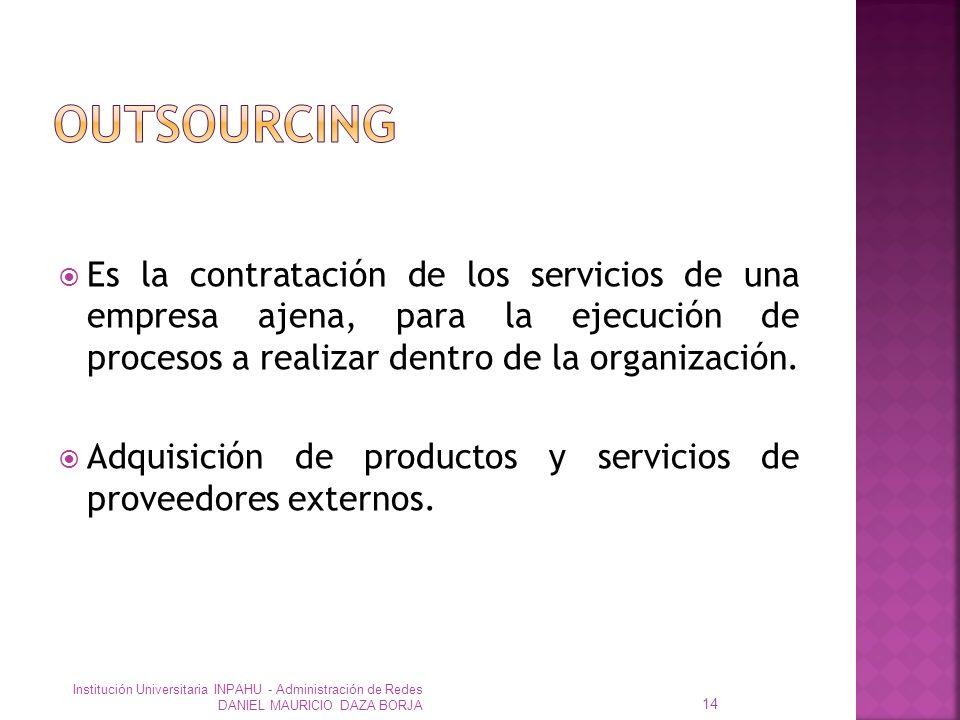 Es la contratación de los servicios de una empresa ajena, para la ejecución de procesos a realizar dentro de la organización.