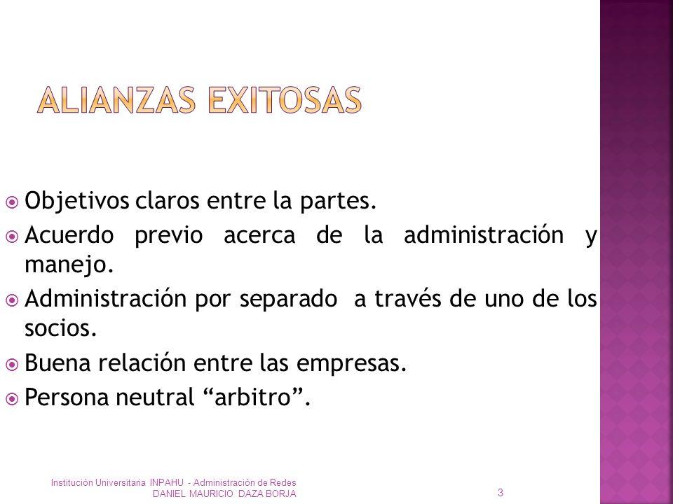 Objetivos claros entre la partes.Acuerdo previo acerca de la administración y manejo.