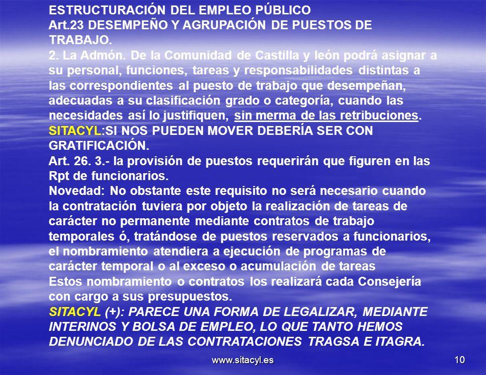 www.sitacyl.es10 ESTRUCTURACIÓN DEL EMPLEO PÚBLICO Art.23 DESEMPEÑO Y AGRUPACIÓN DE PUESTOS DE TRABAJO. 2. La Admón. De la Comunidad de Castilla y leó