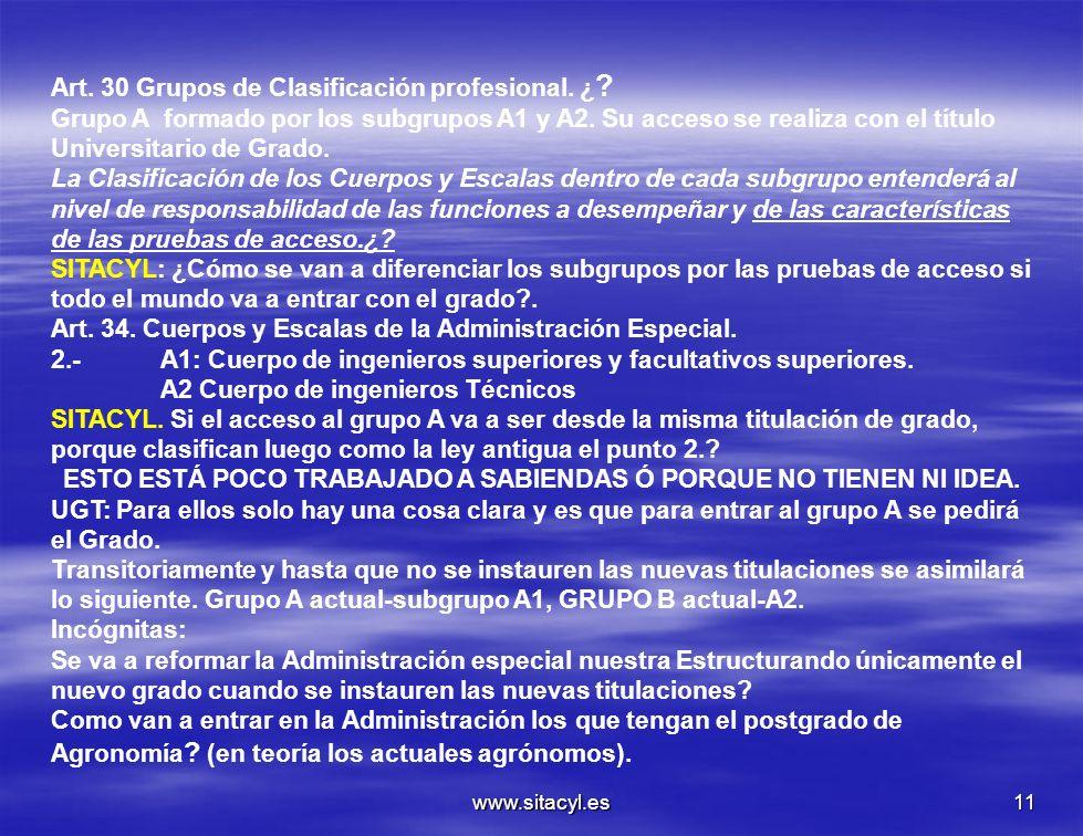 www.sitacyl.es11 Art. 30 Grupos de Clasificación profesional. ¿ ? Grupo A formado por los subgrupos A1 y A2. Su acceso se realiza con el título Univer