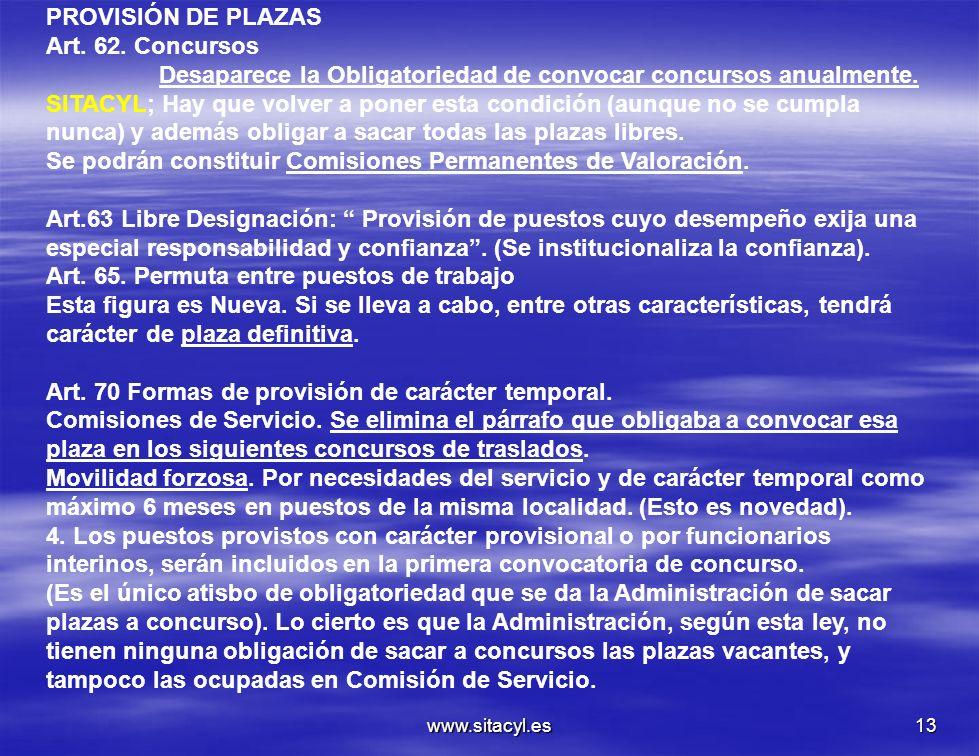 www.sitacyl.es13 PROVISIÓN DE PLAZAS Art. 62. Concursos Desaparece la Obligatoriedad de convocar concursos anualmente. SITACYL; Hay que volver a poner