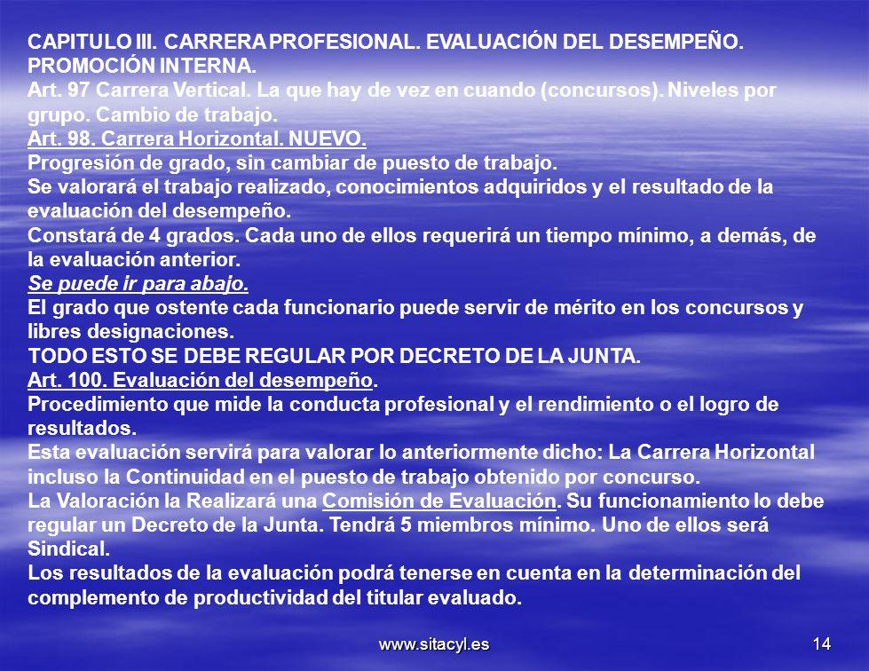 www.sitacyl.es14 CAPITULO III. CARRERA PROFESIONAL. EVALUACIÓN DEL DESEMPEÑO. PROMOCIÓN INTERNA. Art. 97 Carrera Vertical. La que hay de vez en cuando