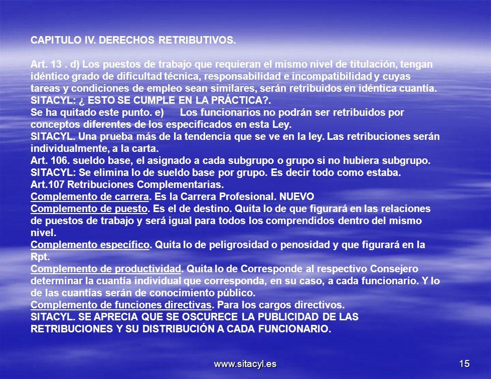 www.sitacyl.es15 CAPITULO IV. DERECHOS RETRIBUTIVOS. Art. 13. d) Los puestos de trabajo que requieran el mismo nivel de titulación, tengan idéntico gr