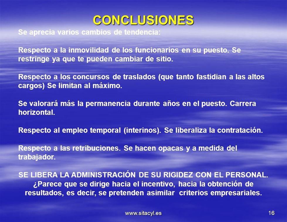 www.sitacyl.es16 CONCLUSIONES Se aprecia varios cambios de tendencia: Respecto a la inmovilidad de los funcionarios en su puesto. Se restringe ya que