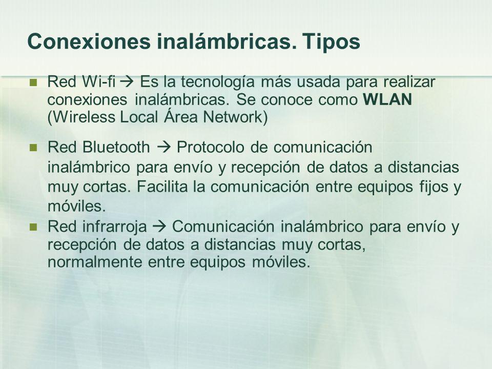 Conexiones inalámbricas. Tipos Red Wi-fi Es la tecnología más usada para realizar conexiones inalámbricas. Se conoce como WLAN (Wireless Local Área Ne