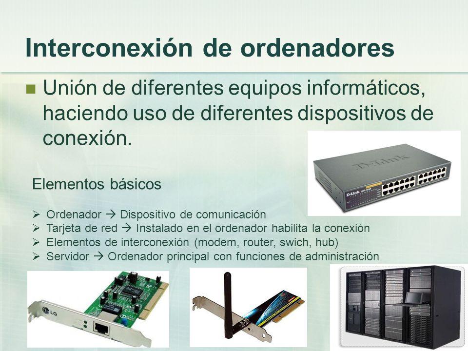 Interconexión de ordenadores Unión de diferentes equipos informáticos, haciendo uso de diferentes dispositivos de conexión. Elementos básicos Ordenado