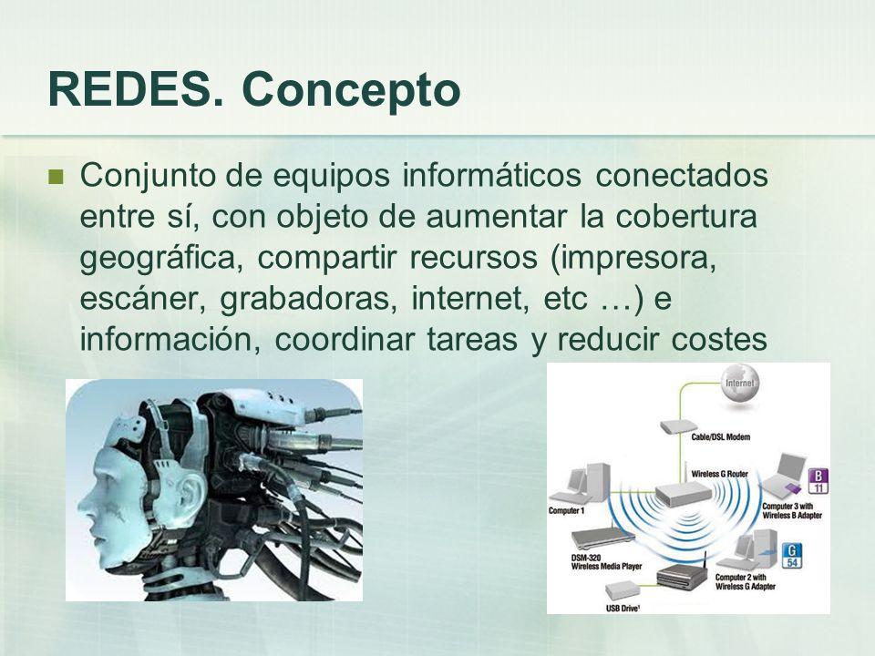 REDES. Concepto Conjunto de equipos informáticos conectados entre sí, con objeto de aumentar la cobertura geográfica, compartir recursos (impresora, e