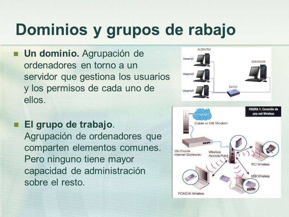 Dominios y grupos de rabajo Un dominio. Agrupación de ordenadores en torno a un servidor que gestiona los usuarios y los permisos de cada uno de ellos