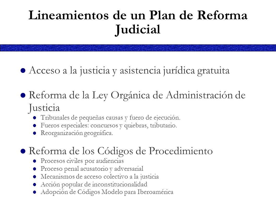 Lineamientos de un Plan de Reforma Judicial Acceso a la justicia y asistencia jurídica gratuita Reforma de la Ley Orgánica de Administración de Justic