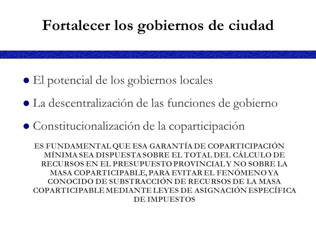 Fortalecer los gobiernos de ciudad El potencial de los gobiernos locales La descentralización de las funciones de gobierno Constitucionalización de la