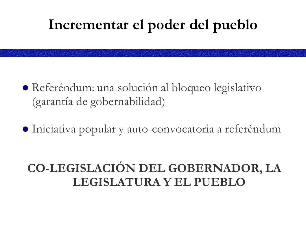Incrementar el poder del pueblo Referéndum: una solución al bloqueo legislativo (garantía de gobernabilidad) Iniciativa popular y auto-convocatoria a