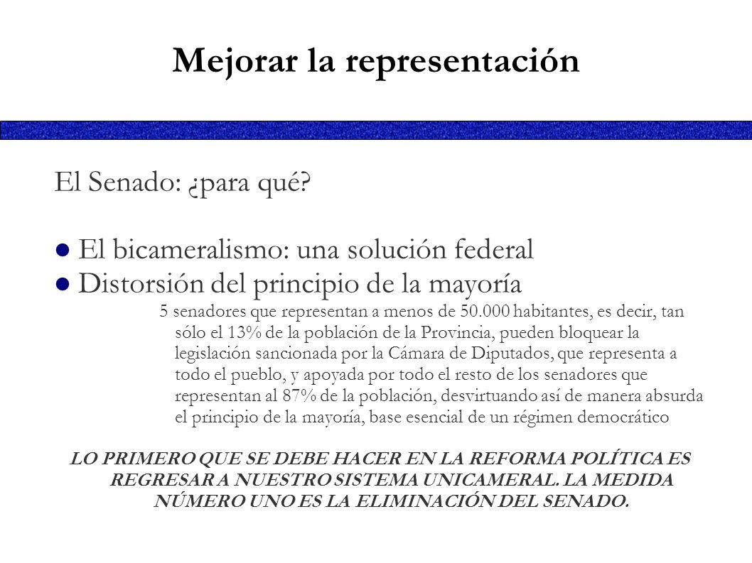 Mejorar la representación El Senado: ¿para qué? El bicameralismo: una solución federal Distorsión del principio de la mayoría 5 senadores que represen