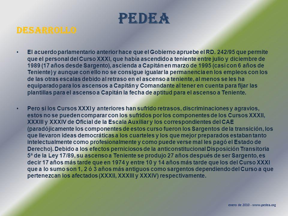 PEDEA desarrollo enero de 2010 - www.pedea.org El acuerdo parlamentario anterior hace que el Gobierno apruebe el RD. 242/95 que permite que el persona