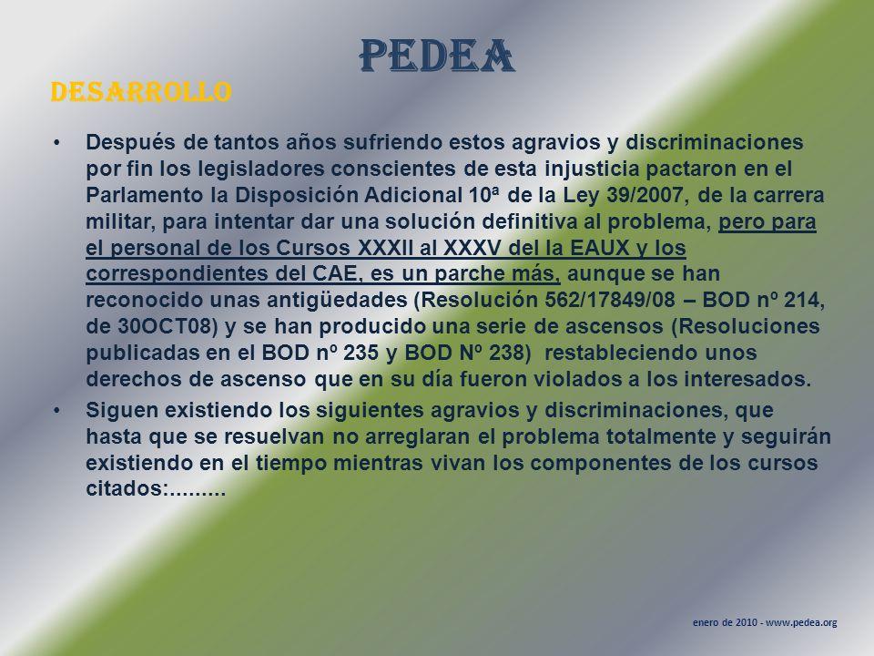 PEDEA desarrollo enero de 2010 - www.pedea.org Después de tantos años sufriendo estos agravios y discriminaciones por fin los legisladores conscientes