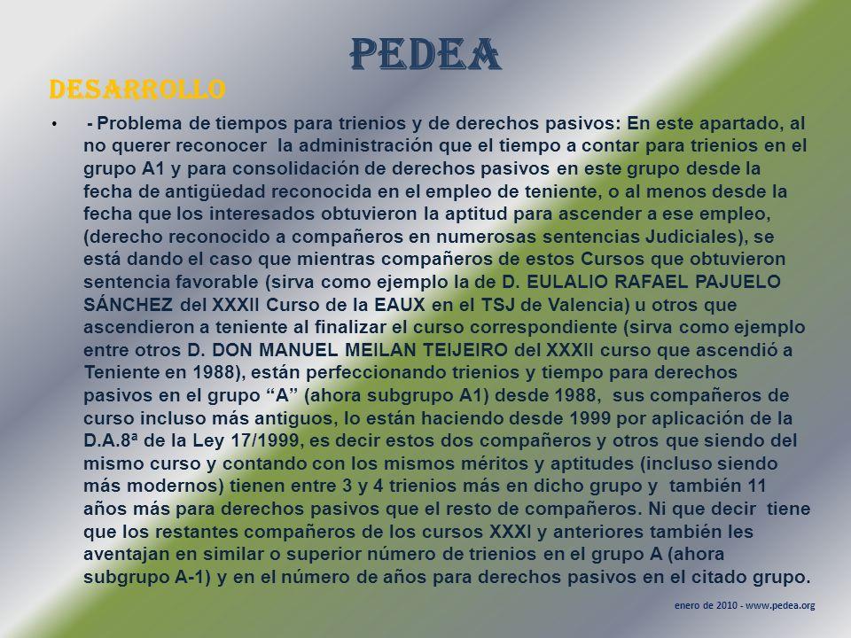 PEDEA desarrollo enero de 2010 - www.pedea.org - Problema de tiempos para trienios y de derechos pasivos: En este apartado, al no querer reconocer la
