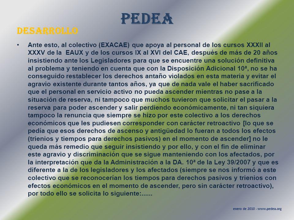 PEDEA desarrollo enero de 2010 - www.pedea.org Ante esto, al colectivo (EXACAE) que apoya al personal de los cursos XXXII al XXXV de la EAUX y de los