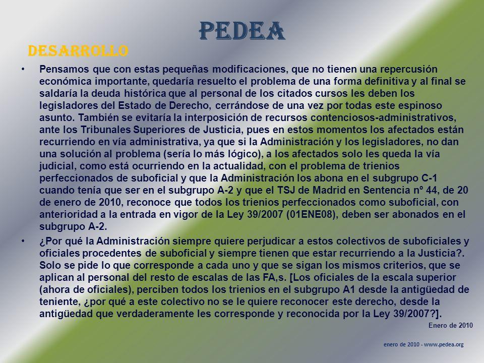 PEDEA desarrollo enero de 2010 - www.pedea.org Pensamos que con estas pequeñas modificaciones, que no tienen una repercusión económica importante, que