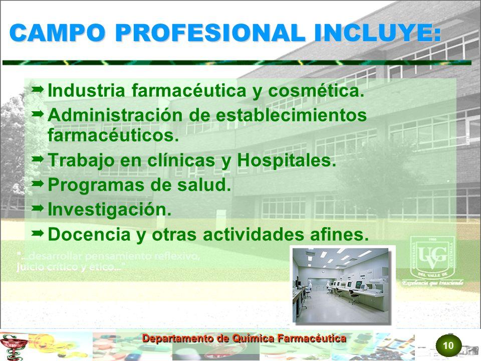 10 Departamento de Química Farmacéutica CAMPO PROFESIONAL INCLUYE: Industria farmacéutica y cosmética.