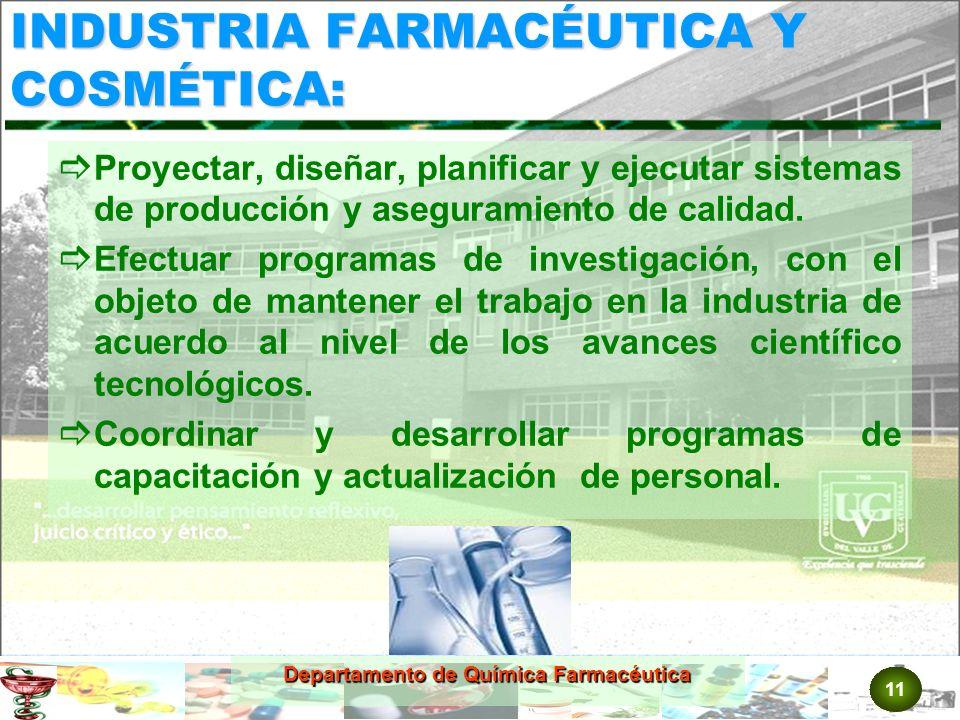 11 Departamento de Química Farmacéutica INDUSTRIA FARMACÉUTICA Y COSMÉTICA: Proyectar, diseñar, planificar y ejecutar sistemas de producción y aseguramiento de calidad.