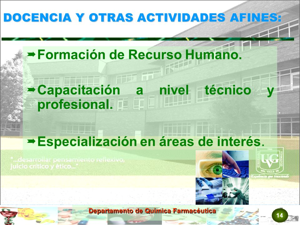 14 Departamento de Química Farmacéutica DOCENCIA Y OTRAS ACTIVIDADES AFINES: Formación de Recurso Humano.