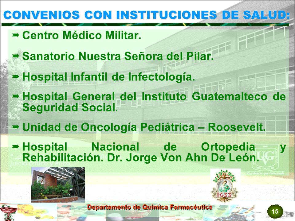 15 Departamento de Química Farmacéutica CONVENIOS CON INSTITUCIONES DE SALUD: Centro Médico Militar.